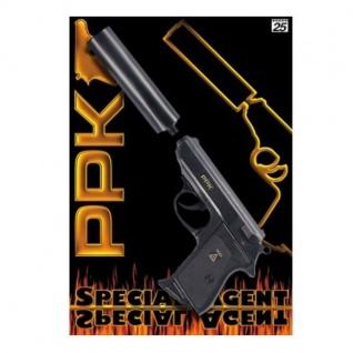 Special Agent PPK Pistole mit Schalldämpfer Kinder Spielzeug Knallpistole