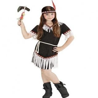 Indianerin Squaw Mädchen Kostüm 3tlg. Gr. 128 Indianer Kinder Kostüm (6696)