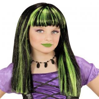 Kinder Gothic Perücke Hexe schwarz mit grünfarbene Strähnchen Halloween Zauberin