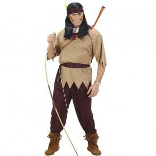 4tlg Indianer Herren Kostüm Krieger - Oberteil Hose Gürtel Stirnband - Apache