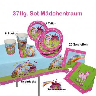 37tlg. Kinder Geburtstags Set *Mädchentraum/Einhorn*Teller Becher, Zubehör