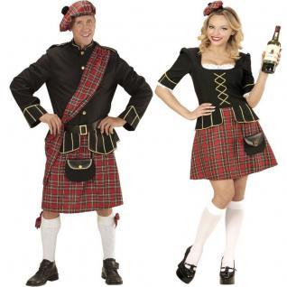 Schottin und Schotte Damen Herren Highländer Deluxe Kostüm - Fasching Karneval