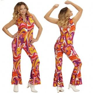 70er Chic Disco Dancing Queen Overall Damen Kostüm Jumpsuit Schlagermove Hippie