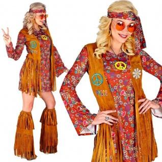 70er Jahre Hippie Girl Damen Kostüm Kleid & Stiefel -Überzieher im Fransen Look