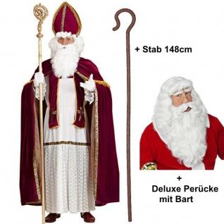 NIKOLAUS Kostüm Bischof Weihnachtsmann Gr L/XL + Deluxe Perücke & Bart + Stab