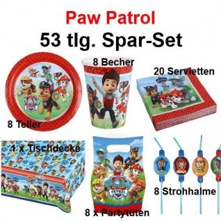 53 tlg. Super Spar-Set PAW PATROL Kinder Geburtstag Party Deko Hund Polizei