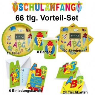 SCHULANFANG Einschulung Spar-Set ( B) 66 tlg.Party Deko - Teller Becher