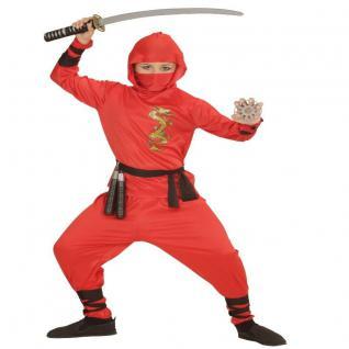 ROTES NINJA KOSTÜM Kind Kampfsport Kung Fu Kämpfer Samurai Fasching Jungen