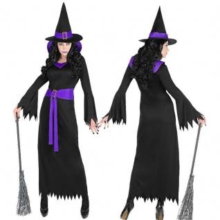 WOW Hexe Hexenkostüm Zaubererin Damen Kostüm Kleid mit Hut & Gürtel schwarz-lila