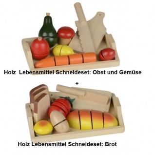 2tlg. Spielzeug Holz Schneidebrett Obst Brot Kaufladen Kinder Küche Lebensmittel
