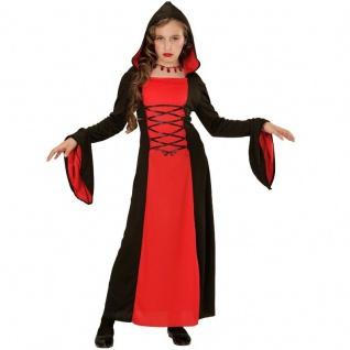 Kinder Kostüm GOTHIC LADY Hexe Vampirin Mittelalter Kleid mit Kapuze Halloween