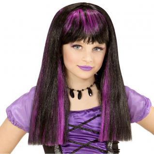 Hexe Mädchen Perücke schwarz - mit lilafarbene Strähnchen Halloween Zauberin