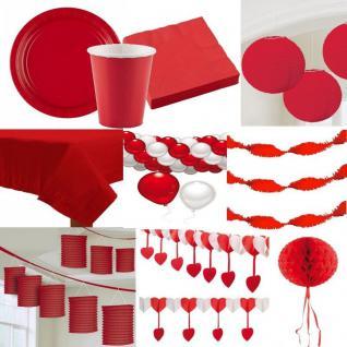 Party Deko - Alles in der Farbe - ROT - Teller Laterne Fächer Girlande Pompom