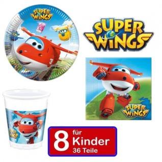 SUPER WINGS Party Set Kinder Geburtstag Teller Becher Servietten - für 8 Kinder