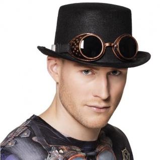 Steampunk ZYLINDER MIT BRILLE Steam Punk Set Kostüm Kopfbedeckung Hut #4500