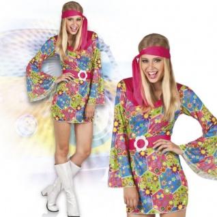 GROOVY GIRL 38/40 M HIPPIE DAMEN KOSTÜM 60er 70er Jahre Kleid Flower Power #3853