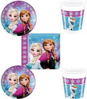 EISKÖNIGIN Disney Frozen Party Set 1 Becher Servietten Pappteller Party Deko