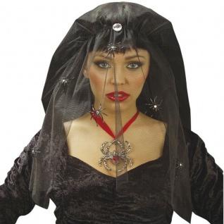 SCHWARZER SCHLEIER Witwenschleier Witwen Hexen Vamp Halloween Kostüm #8452