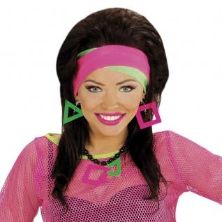 80er Jahre Girl  Damen Kostüm Set 5 tlg Brille Handschuhe Ohrring Strähnen