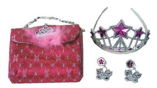 Prinzessinnen Set für Kinder Krone + Ohrringe + Handtasche 3er-Set Fasching
