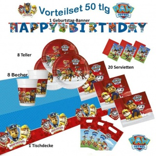 Kinder Geburtstag Party Teller, Becher, Servietten, Motto Paw Patrol Party Feste
