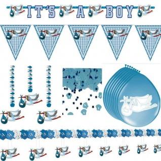 Babyparty Junge 5er Set Deko Spiralen Pullerparty Baby Boy 61 cm Hängedeko Taufe
