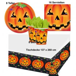 Kürbis Pumpkin Halloween Party Set - Teller Becher Servietten Tischdecke