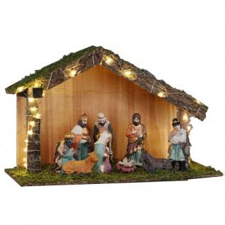 Komplett-Set Krippe + 9 Figuren Weihnachtskrippe 40 cm Krippenfiguren Holzhaus