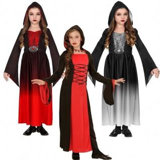 Mittelalter KLEID MIT KAPUZE Vampir Hexe Gothic Girl Mädchen Kostüm 128 140 158