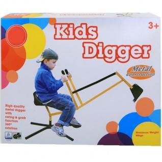 Kinder Bagger Metall Sitzbagger 360° drehbar Standbagger Spielzeug Sandkasten