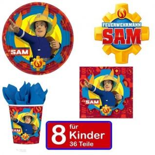 Partyset SAM Teller Becher Servietten für 8 Kinder Kindergeburtstag 36 Teile