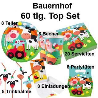 60 tlg. TOP-Set BAUERNHOF TIERE Kinder Geburtstag Party Teller Becher Trinkhalme