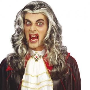 Lange VAMPIR PERÜCKE Halloween Vampirperücke Barock, Langhaar, Karneval 6146
