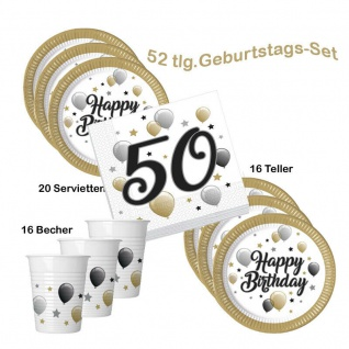 50. Geburtstag Happy Birthday 20 Servietten 16 Teller 16 Becher Party-Set (2)