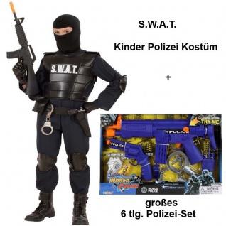 SWAT Officer + großes Police-Set Kinder Polizei Kostüm S.W.A.T. Agent Gr.116-164