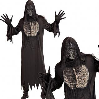 DÄMON ZOMBIE Skelett Herren Kostüm - 3tlg. Robe m.Kapuze, Handschuhe Maske