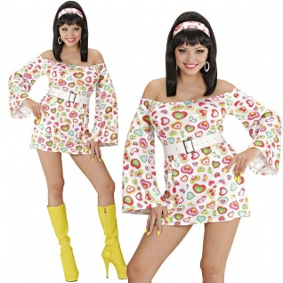 Disco Kleid Minikleid 70er 80er Gr. S (34/36) Hippie Party Damen Kostüm 5805