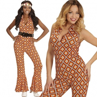 70er Disco Girl Overall mit Schlag 38/40 -M- Damen Kostüm Hippie Jumpsuit #8902