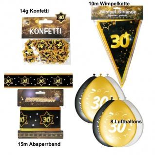 Party Deko Set zum 30. Geburtstag Party 30 Jahre Jubiläum schwarz gold (Set 4)