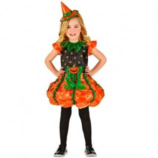 Kürbis Hexe Kinder Mädchen Kostüm Gr. 116 - Kleid mit Hut - Halloween #1859