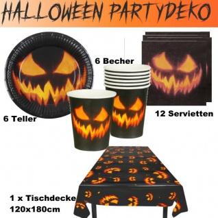 25 tlg. Kürbis Grusel Halloween Party Deko Teller-Becher-Servietten-Tischdecke