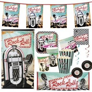 Rock 'n Roll Party 50er 60er Mottoparty Geburtstag Deko AUSWAHL Teller Becher
