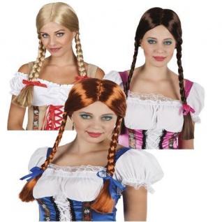 Damen ZOPF PERÜCKE mit Schleife - Perrücke Zöpfe Alm Oktoberfest Bayern