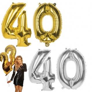 40.Geburtstag XXL FOLIENBALLON Zahl 86cm Gold /Silber Helium Luftballon Jubiläum