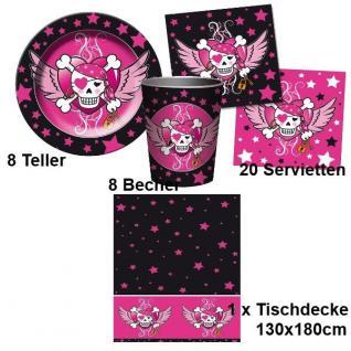 PIRATE GIRL Party Set - Becher Servietten Teller Tischdecke - Kinder Geburtstag