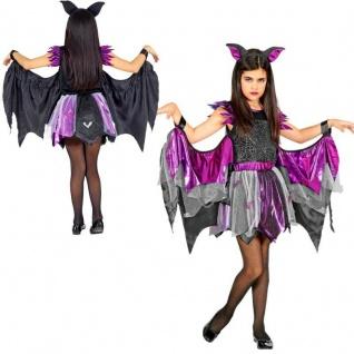 Fledermaus Bat Wings Mädchen Kinder Kostüm Komplet-Set Halloween Karneval