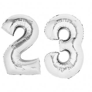 XXL Folienballon Zahlenballon Hochzeit Jubiläum Geburtstag SILBER 80cm Zahl 23