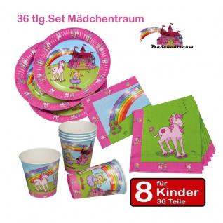 Geburtstags Set für 8 Kinder Mädchentraum Einhorn Teller Becher Servietten