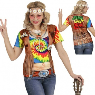 HIPPIE 3D SHIRT Damen Kostüm Top Flower Power 60er 70er Jahre Party 9868