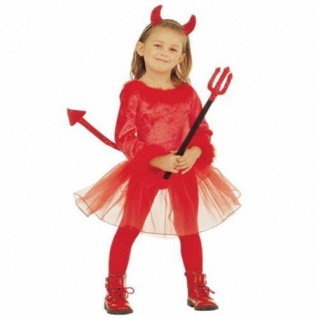 TEUFELIN Teufel Kinder Kostüm Mädchen rot Halloween AUSWAHL 110, 116